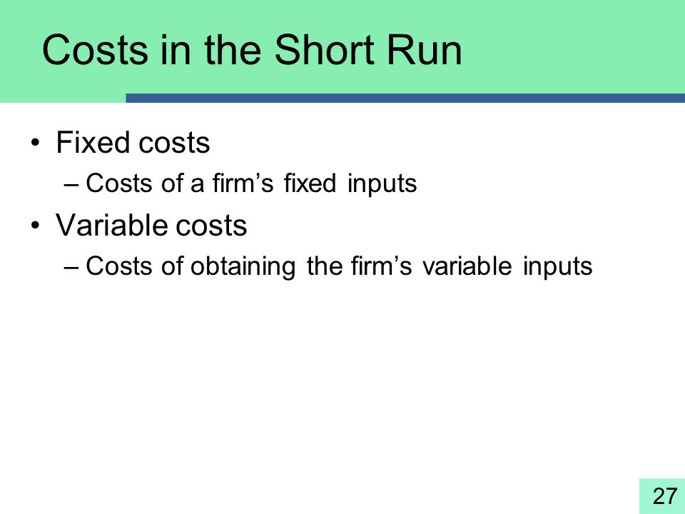 Costs in the Short Run Fixed costs Variable costs