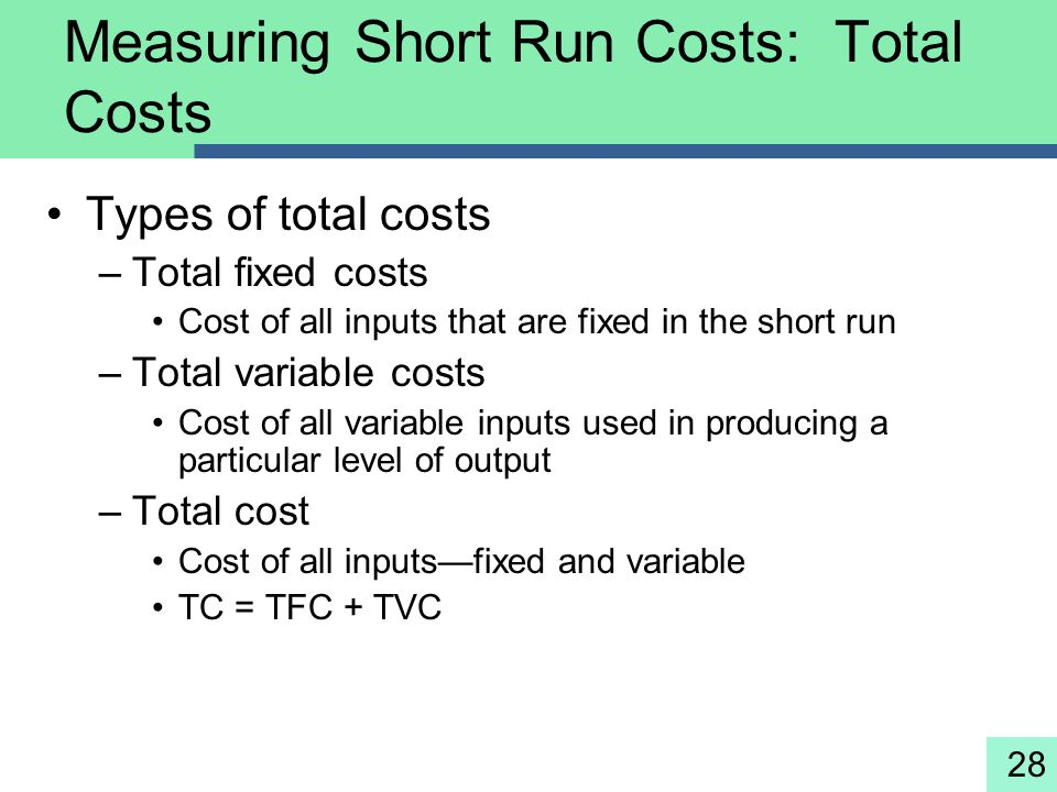 Measuring Short Run Costs: Total Costs