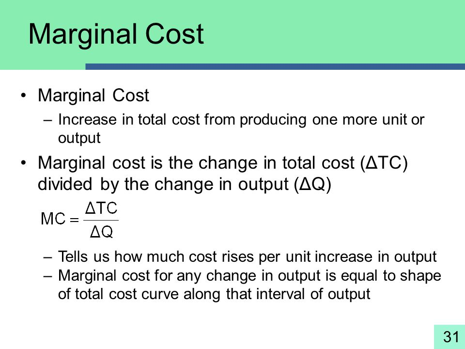 Marginal Cost Marginal Cost
