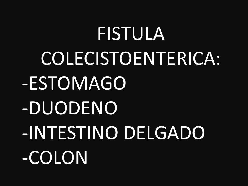 FISTULA COLECISTOENTERICA: ESTOMAGO DUODENO INTESTINO DELGADO COLON