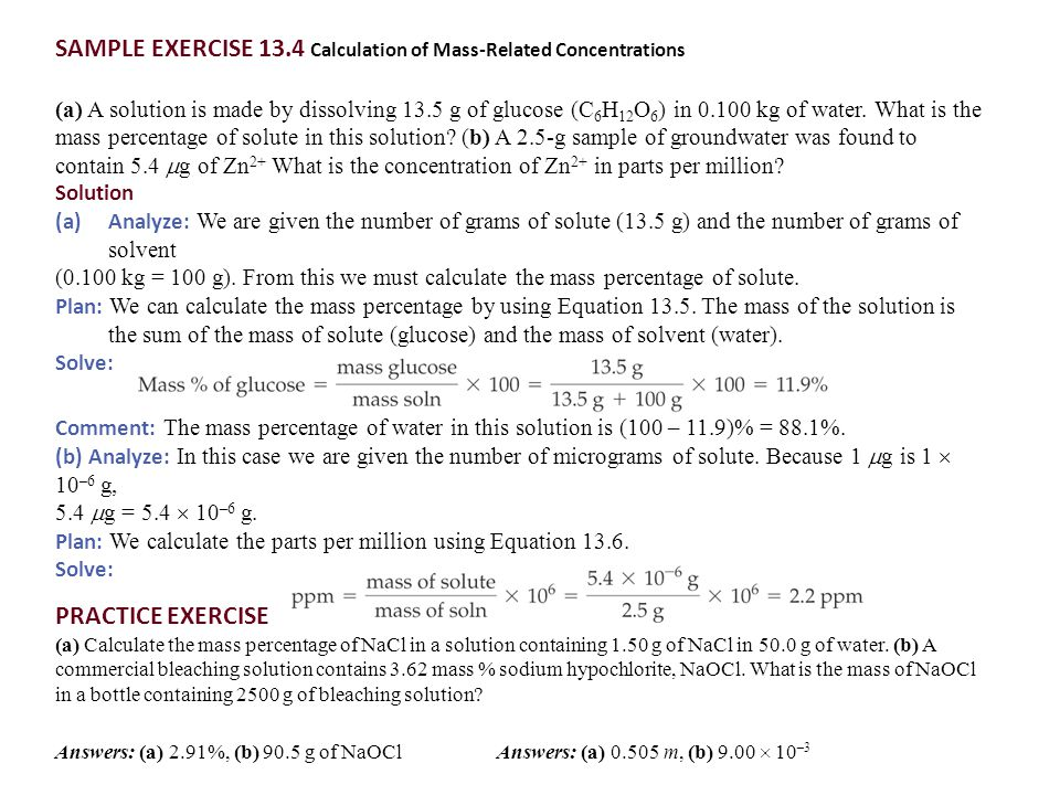 SAMPLE EXERCISE 13.4 Calculation of Mass-Related Concentrations