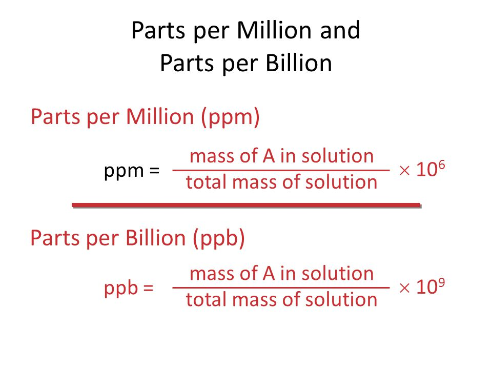 Parts per Million and Parts per Billion