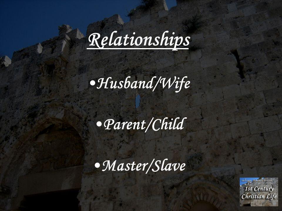 Relationships Husband/Wife Parent/Child Master/Slave