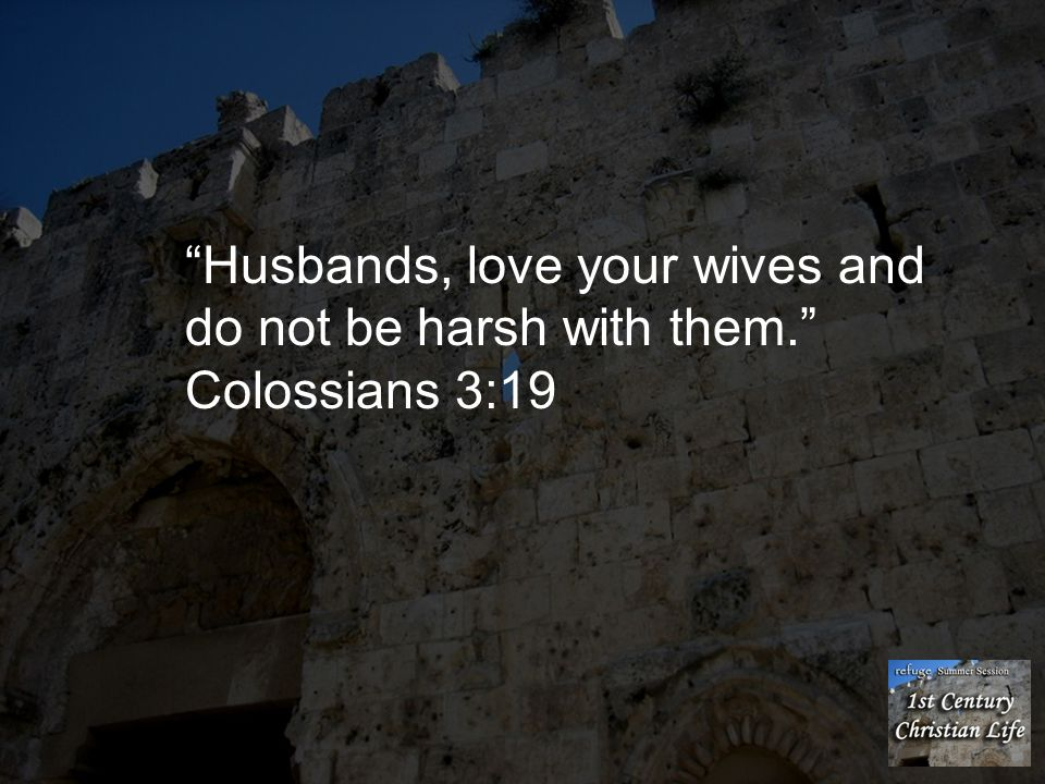 Husbands, love your wives and do not be harsh with them