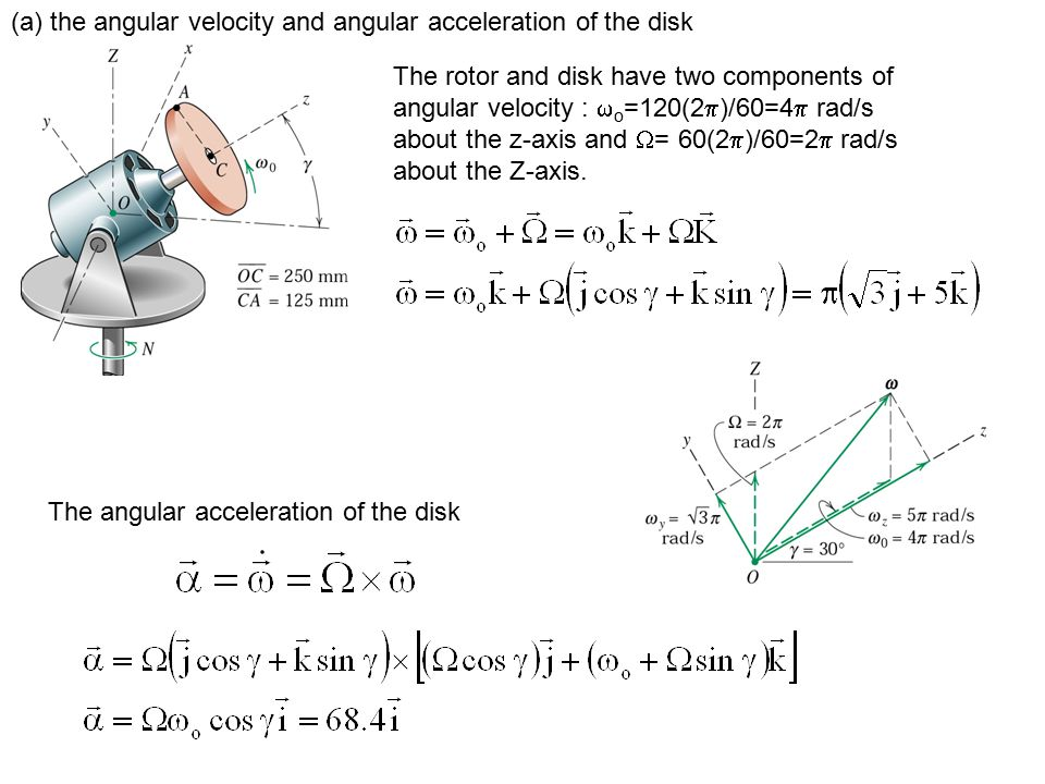 (a) the angular velocity and angular acceleration of the disk