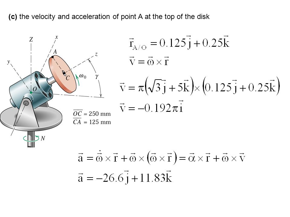 (c) the velocity and acceleration of point A at the top of the disk