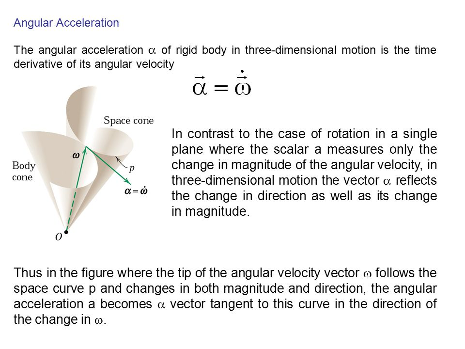 Angular Acceleration The angular acceleration a of rigid body in three-dimensional motion is the time derivative of its angular velocity.