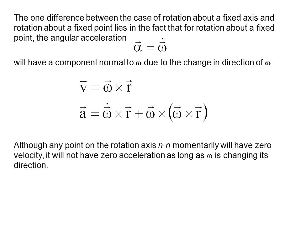 The one difference between the case of rotation about a fixed axis and rotation about a fixed point lies in the fact that for rotation about a fixed point, the angular acceleration
