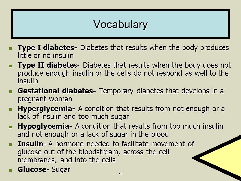 Vocabulary Type I diabetes- Diabetes that results when the body produces little or no insulin.