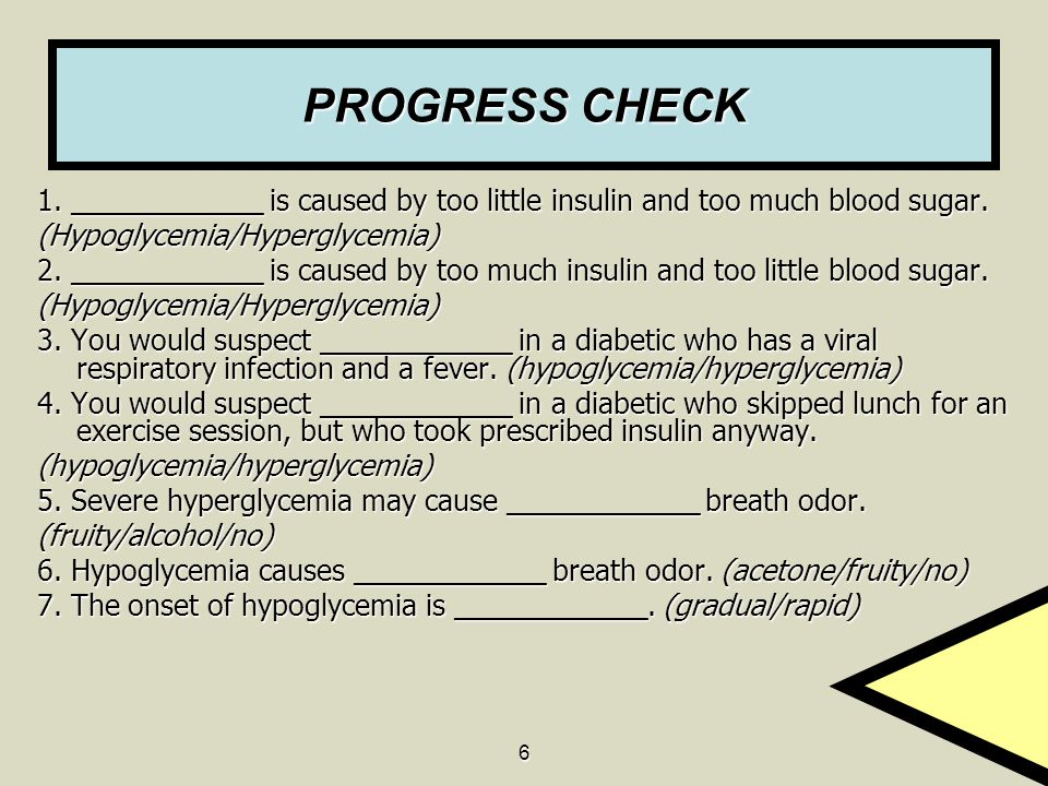 PROGRESS CHECK 1. ____________ is caused by too little insulin and too much blood sugar. (Hypoglycemia/Hyperglycemia)