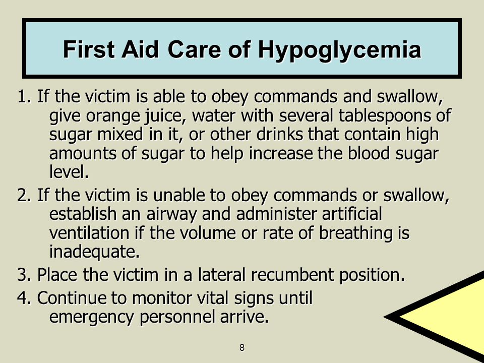 First Aid Care of Hypoglycemia