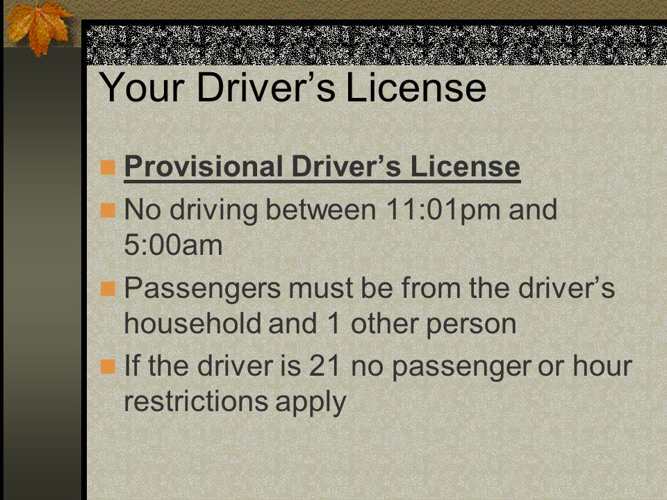 Your Driver's License Provisional Driver's License