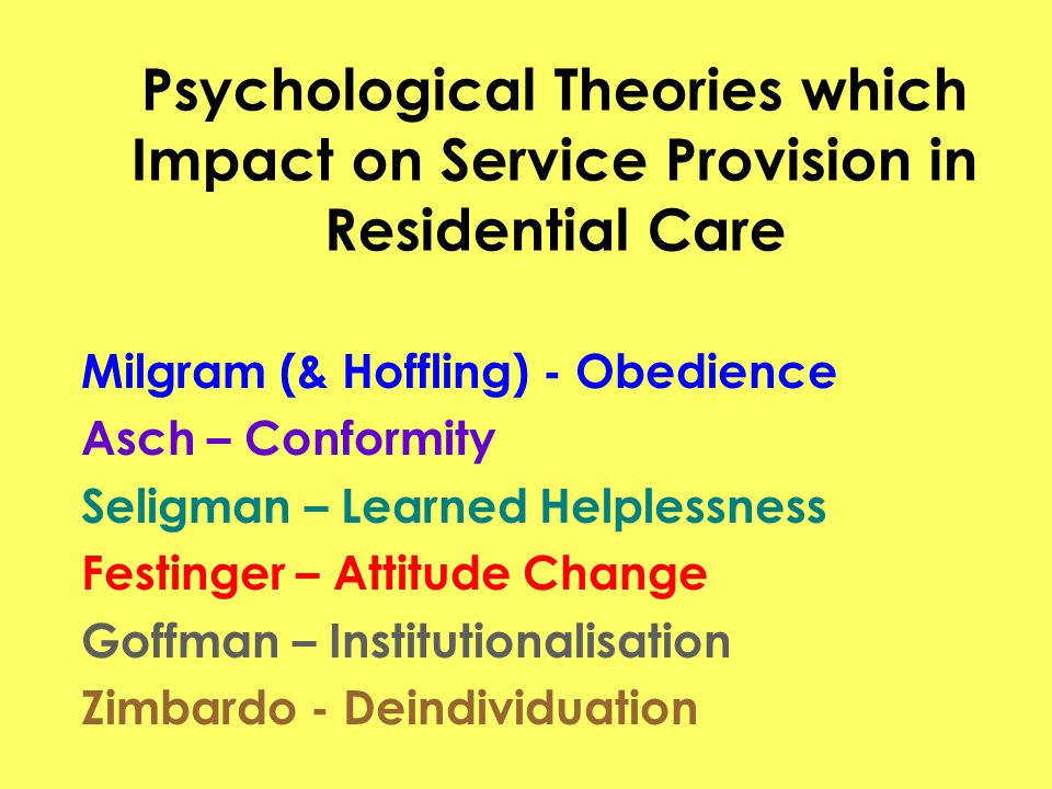 Psychological Theories which Impact on Service Provision in Residential Care