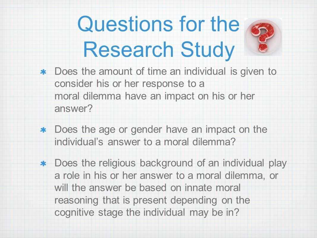 Questions for the Research Study