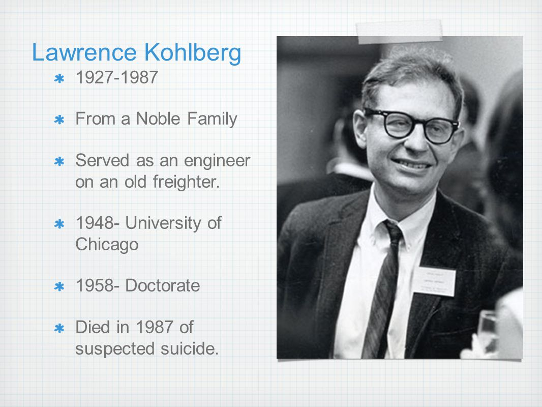 Lawrence Kohlberg in 1927-1987 From a Noble Family