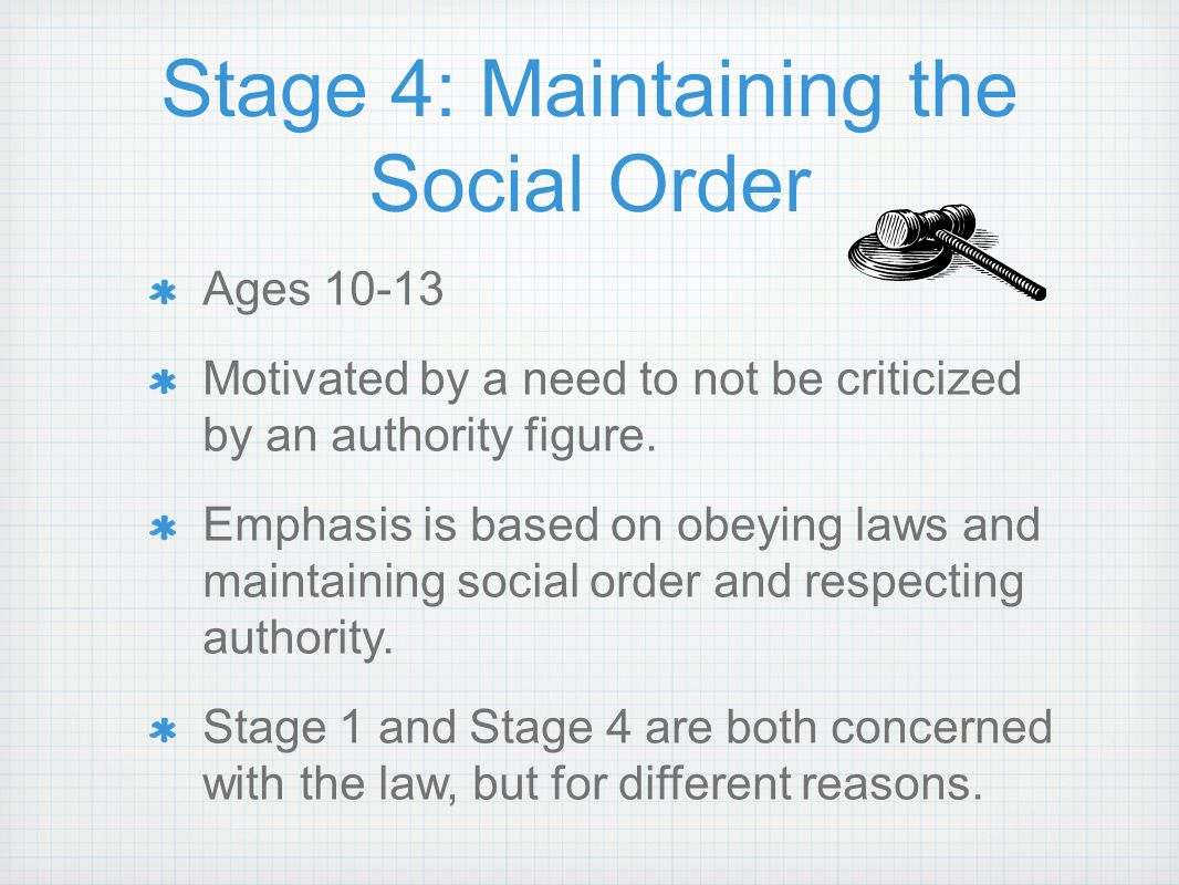 Stage 4: Maintaining the Social Order