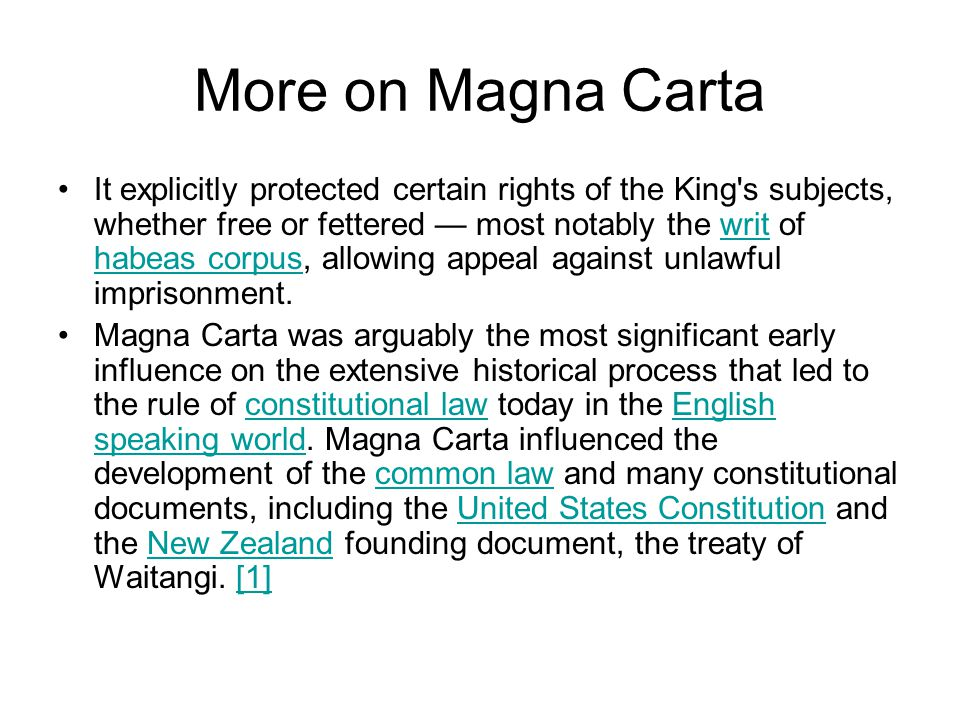 More on Magna Carta