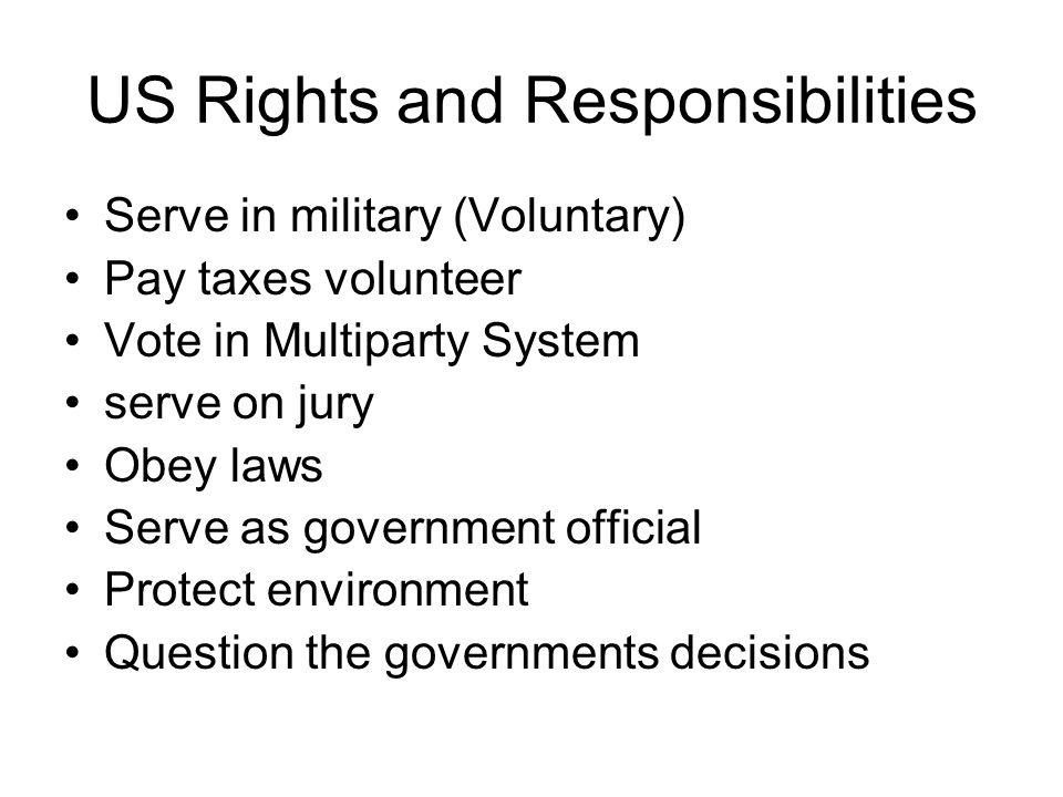 US Rights and Responsibilities