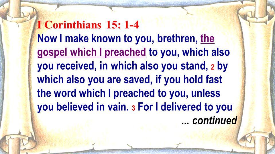 I Corinthians 15: 1-4