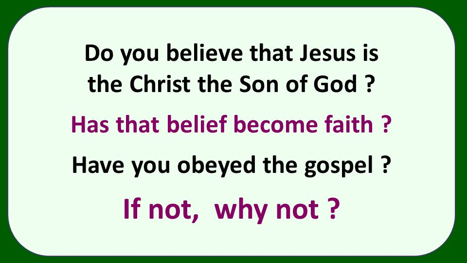 If not, why not Do you believe that Jesus is
