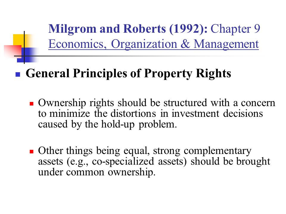 General Principles of Property Rights