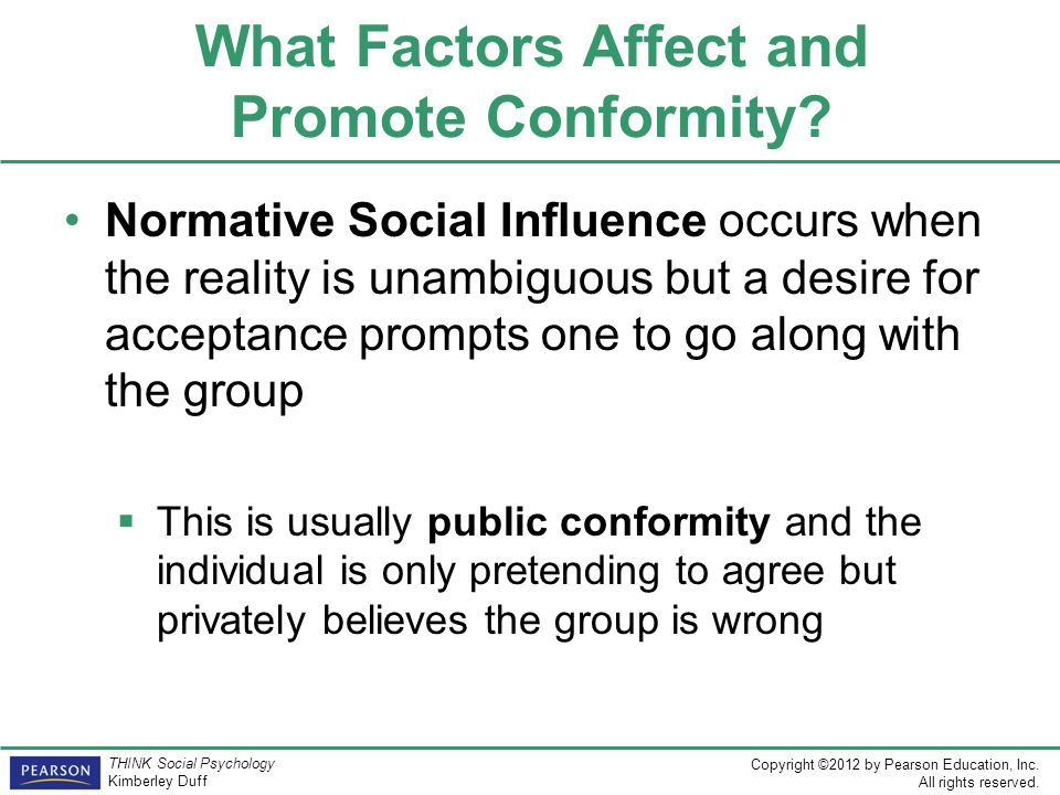 analysis of conformity and group influence Conformity is a change in behavior or belief toward a group standard as a result of the group's influence on an individual as this definition indicates, conformity is a type of social influence through which group members come to share [.