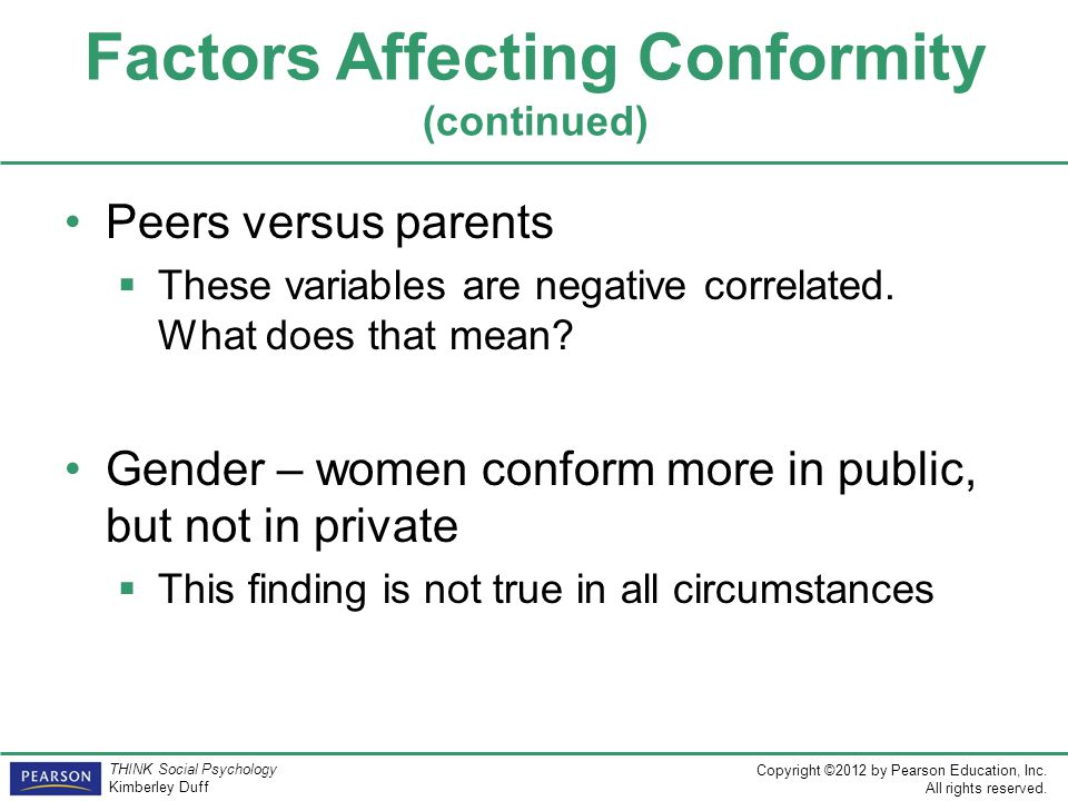 Factors Affecting Conformity (continued)