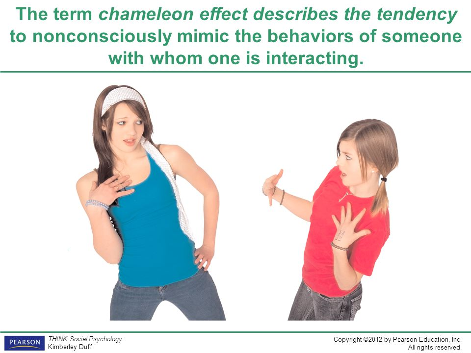 The term chameleon effect describes the tendency to nonconsciously mimic the behaviors of someone with whom one is interacting.
