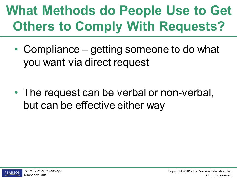 What Methods do People Use to Get Others to Comply With Requests