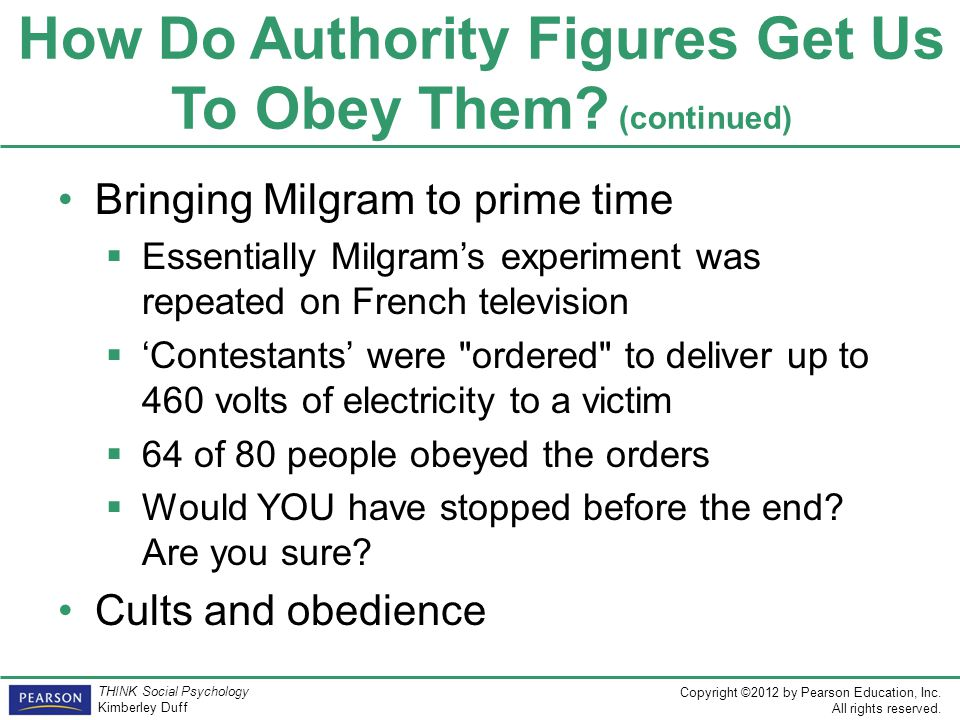 what have we learned from obedience to authority Milgram's obedience to authority  connecticut for what was ostensibly a study  on the effect of learning and memory what they did not realize, is that they would  make history by being participants in perhaps the most (in)famous psychological .