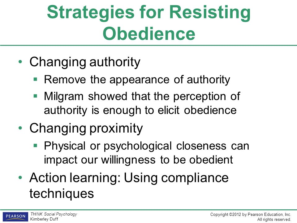 Strategies for Resisting Obedience