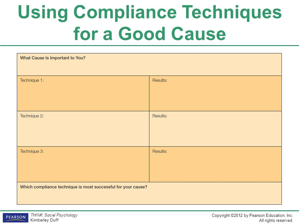 Using Compliance Techniques for a Good Cause