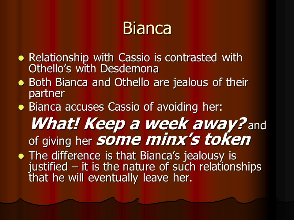 Bianca What! Keep a week away and of giving her some minx's token