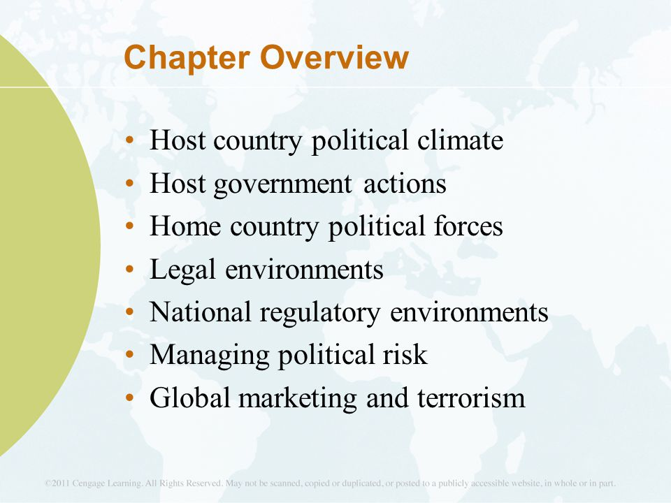 Chapter Overview Host country political climate