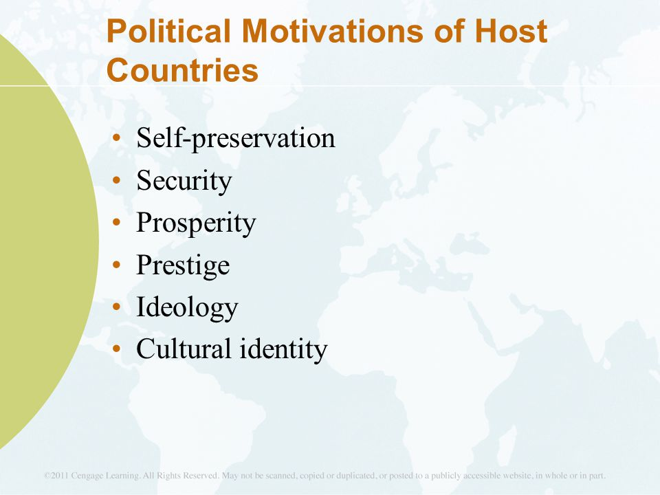 Political Motivations of Host Countries