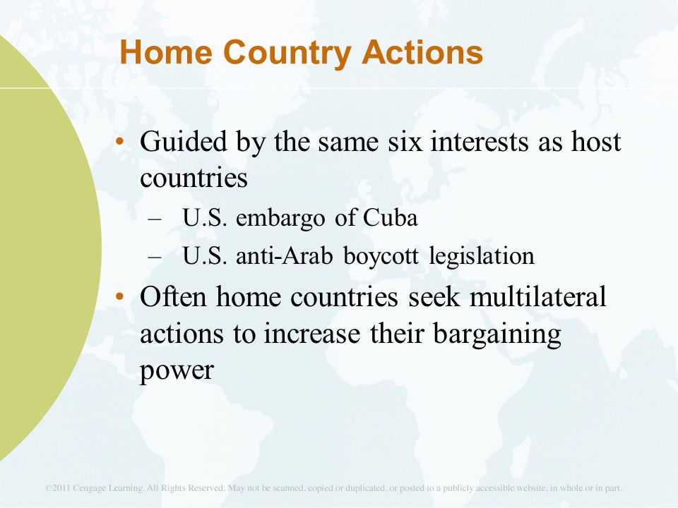 Home Country Actions Guided by the same six interests as host countries. U.S. embargo of Cuba. U.S. anti-Arab boycott legislation.