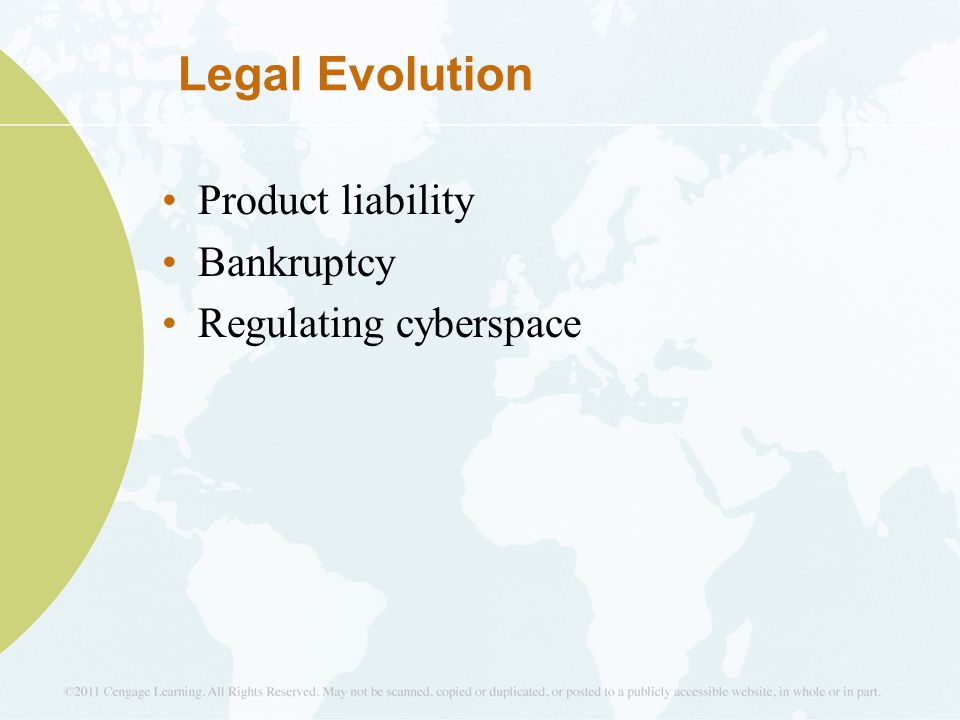 Legal Evolution Product liability Bankruptcy Regulating cyberspace 8