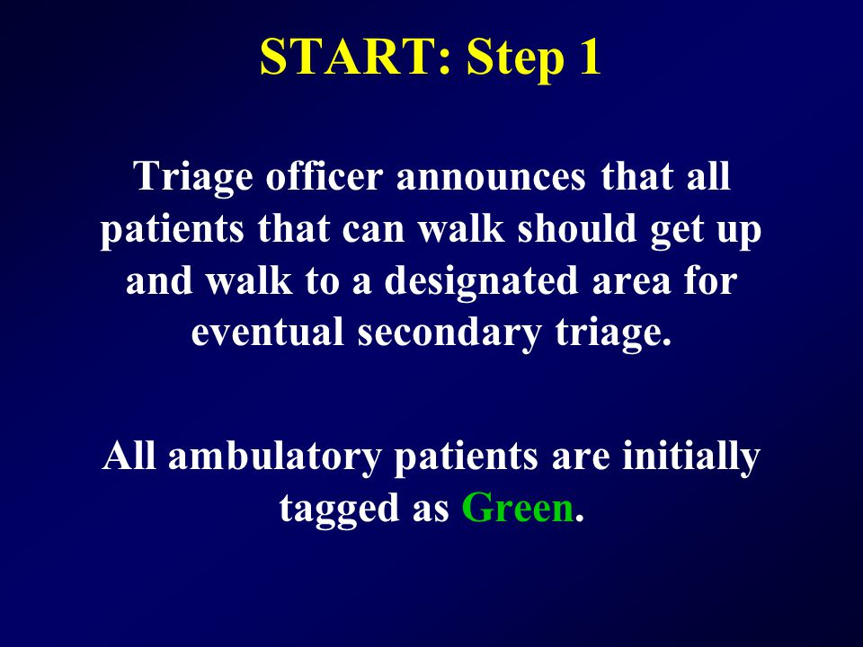 All ambulatory patients are initially tagged as Green.
