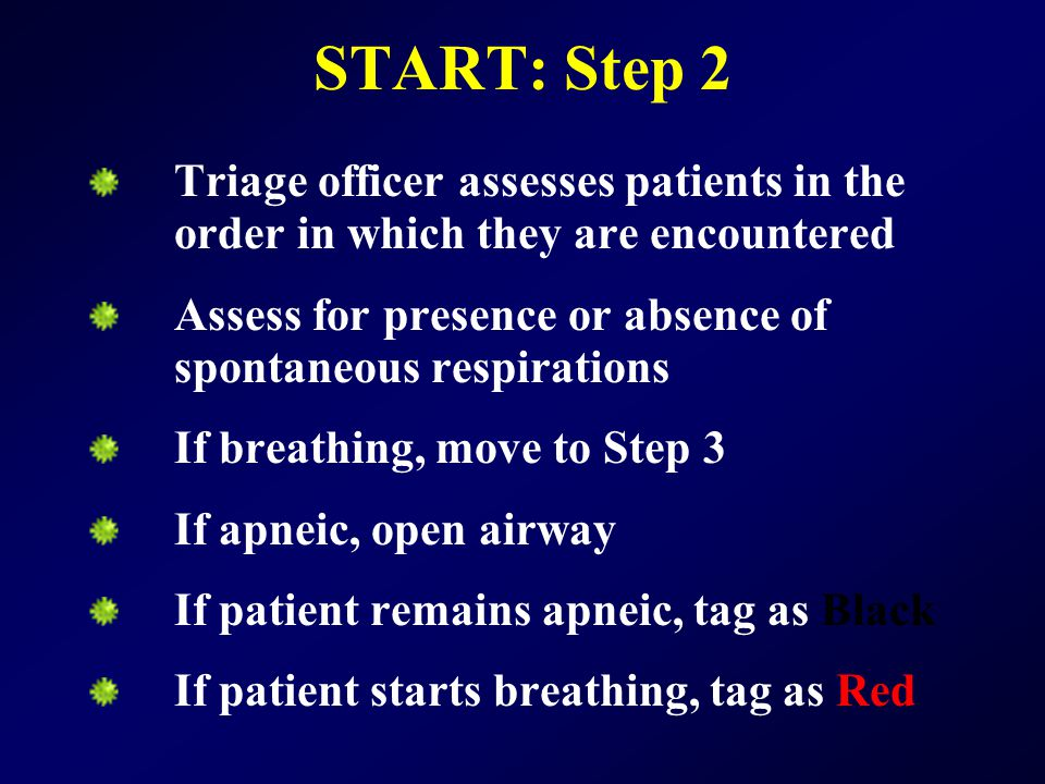 START: Step 2 Triage officer assesses patients in the order in which they are encountered.