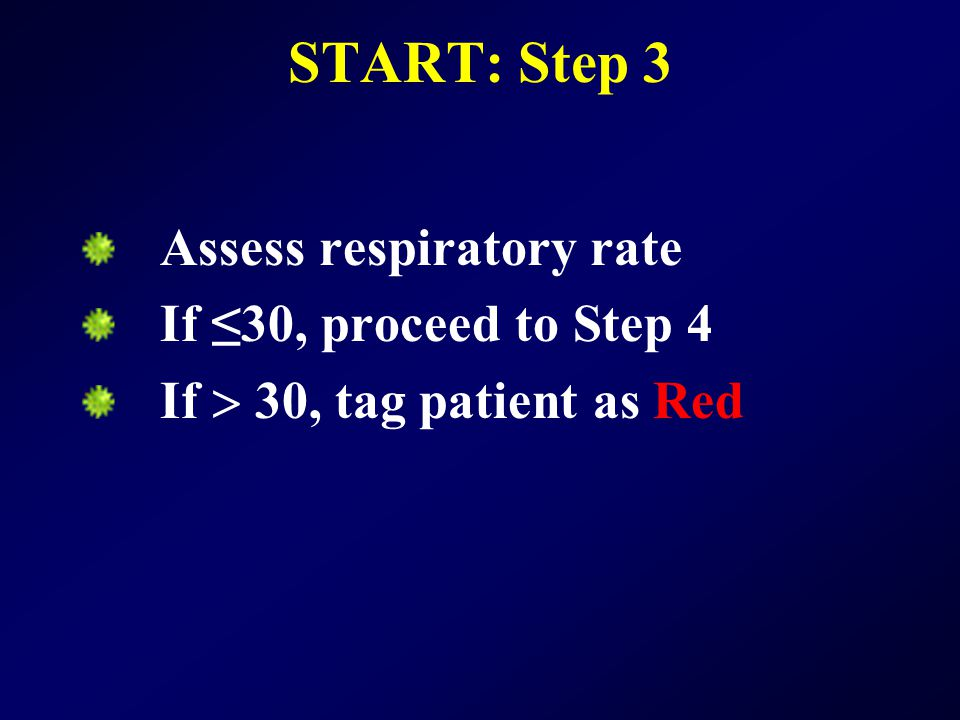START: Step 3 Assess respiratory rate If ≤30, proceed to Step 4