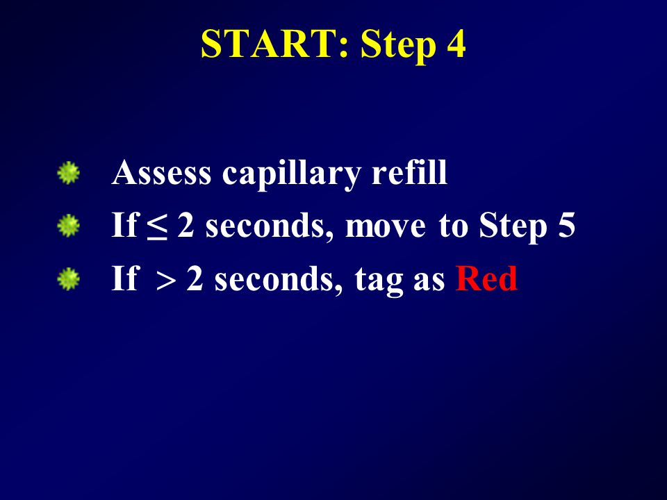 START: Step 4 Assess capillary refill If ≤ 2 seconds, move to Step 5