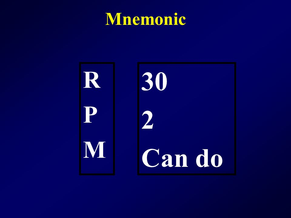 Mnemonic R P M 30 2 Can do
