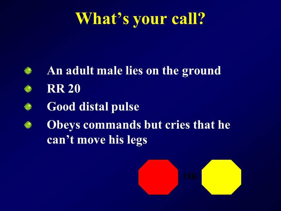 What's your call An adult male lies on the ground RR 20
