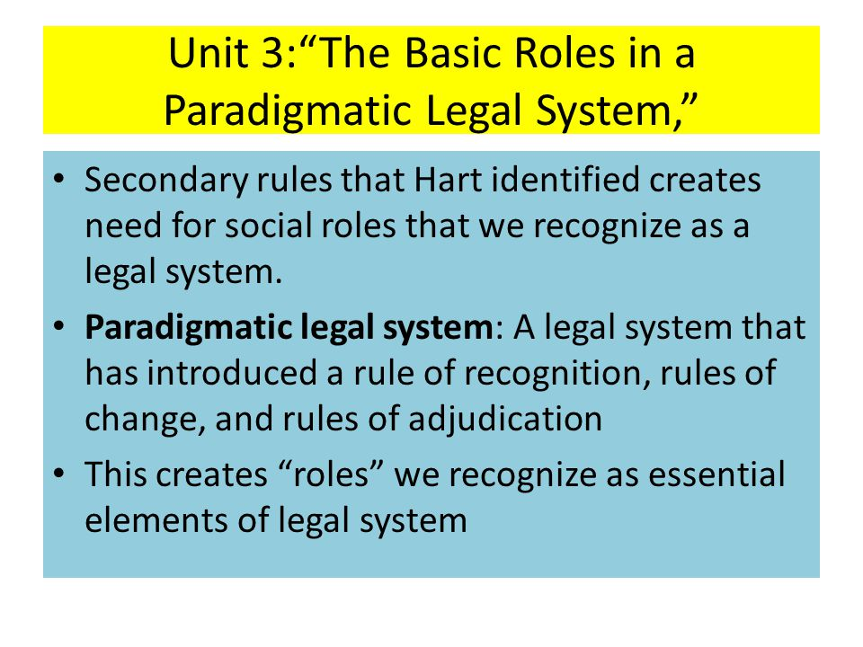 Unit 3: The Basic Roles in a Paradigmatic Legal System,