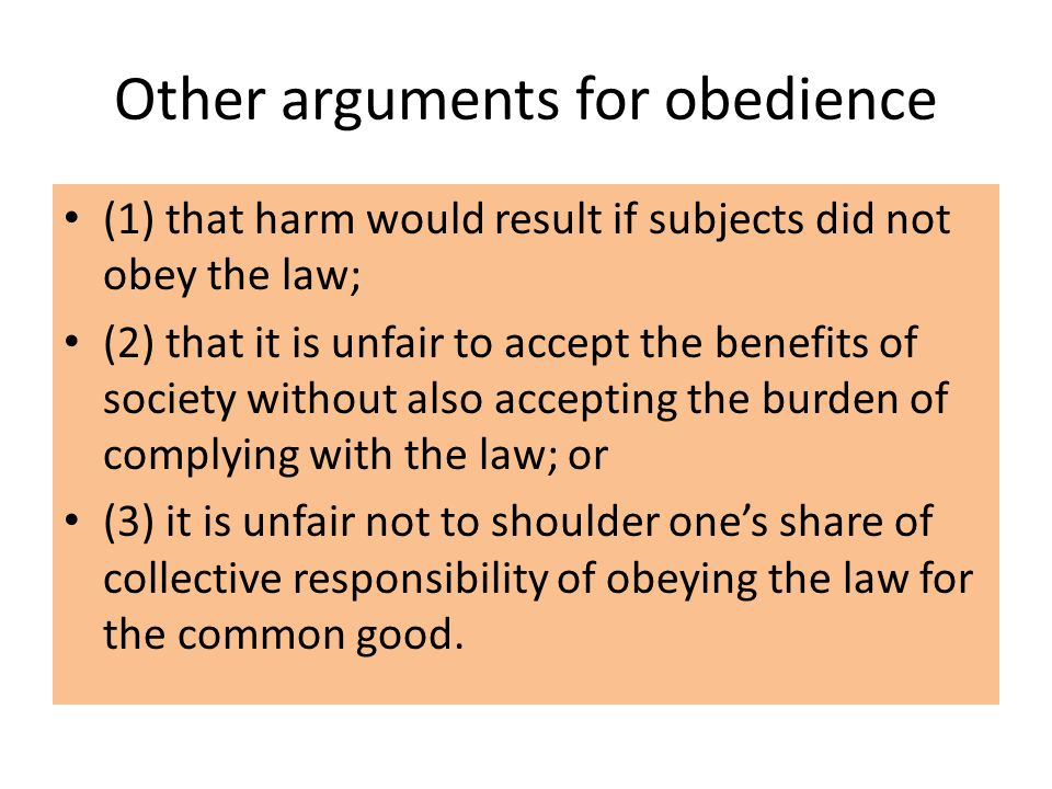 Other arguments for obedience