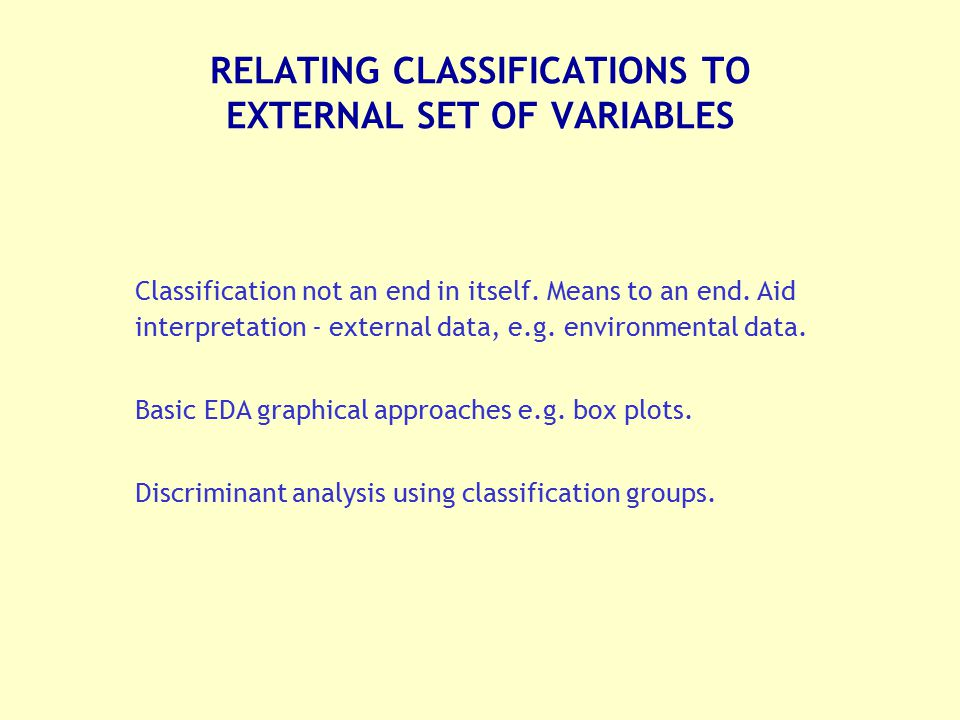 RELATING CLASSIFICATIONS TO EXTERNAL SET OF VARIABLES
