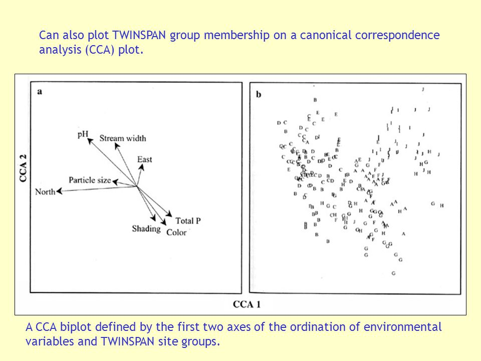 Can also plot TWINSPAN group membership on a canonical correspondence analysis (CCA) plot.