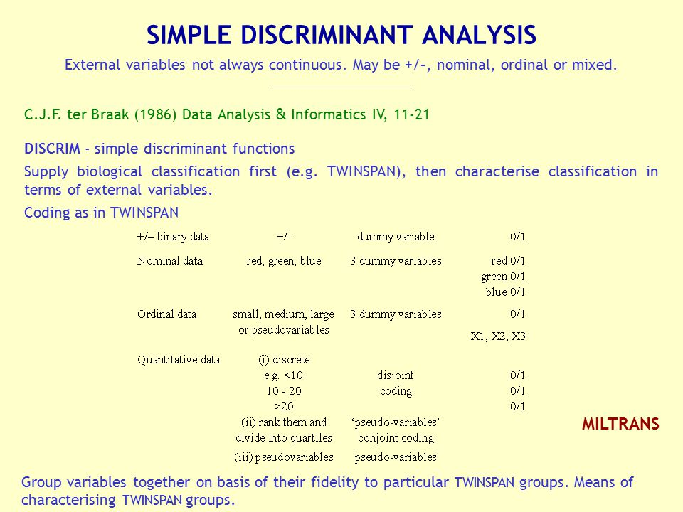 SIMPLE DISCRIMINANT ANALYSIS