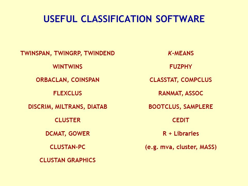 USEFUL CLASSIFICATION SOFTWARE
