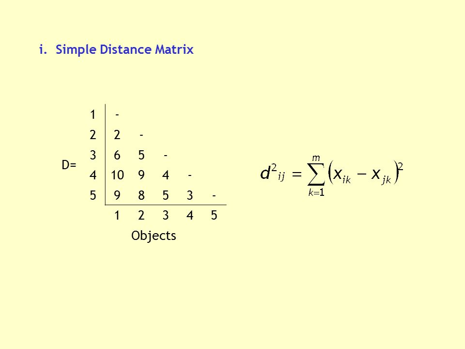 i. Simple Distance Matrix